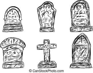 halloween, drawing., skiss, hand, kyrkogård