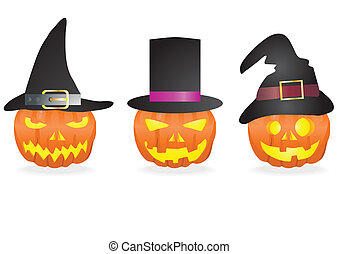 halloween - Collection of halloween pumpkins with carved...