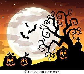 halloween, drzewo, sylwetka
