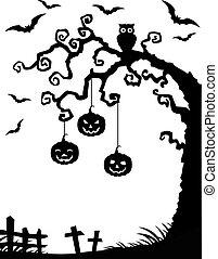 halloween, drzewo, tło, zmarły