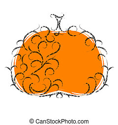 halloween, dynia, kwiatowy, ornament., wektor, ilustracja, dla, twój, projektować