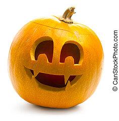halloween, dynia, odizolowany, na białym, tło