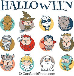 halloween, dzieci, kostiumy