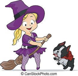 halloween, dziewczyna, czarownica, kostium