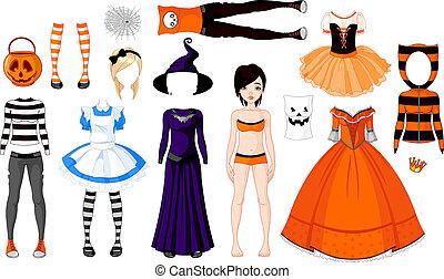 halloween, dziewczyna, kostiumy