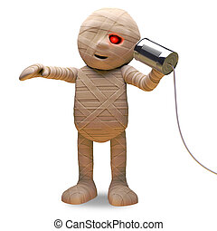Halloween Egyptian mummy has the latest tin can phone on a string, 3d illustration render