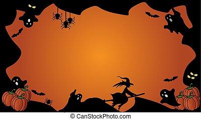 halloween, element, svart fond, apelsin, horisontal, gräns, template.