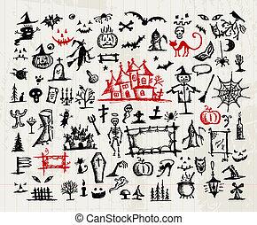 halloween, elementos, bosquejo, diseño