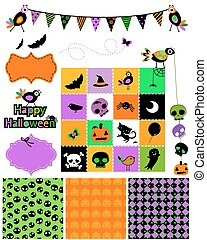 halloween, elementos, diseño