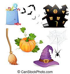 halloween, elements., ensemble