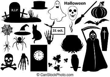Halloween elements isolated on white