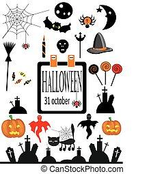 halloween, elements., vettore