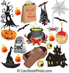 halloween, elementy, sztuka, zacisk, partia
