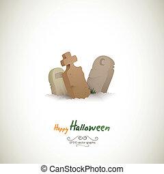 halloween, enlige, grave, tre