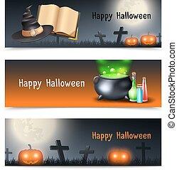 halloween, ensemble, bannière