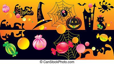 halloween, ensemble, caractère, bonbons