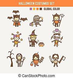 halloween, ensemble, caractère, déguisement, gosse