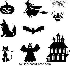 halloween, ensemble, silhouette