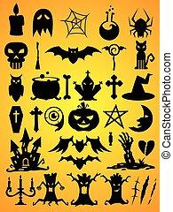 halloween, ensemble, vecteur, formes