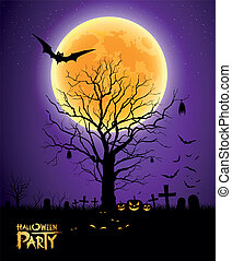 halloween, entiers, arbre, lune