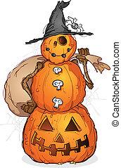 halloween, espantapájaros, caricatura, calabaza