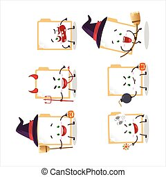 Halloween expression emoticons with cartoon character of ...