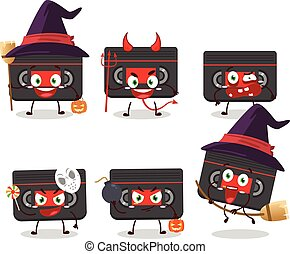 Halloween expression emoticons with cartoon character of retro cassette
