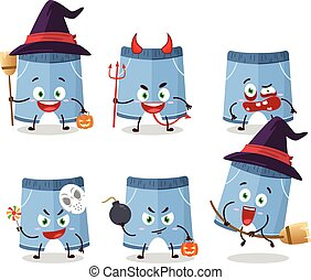 Halloween expression emoticons with cartoon character of shorts