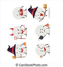 Halloween expression emoticons with cartoon character of volley ball