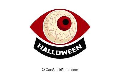 Halloween eyeball logo animation best object on white background