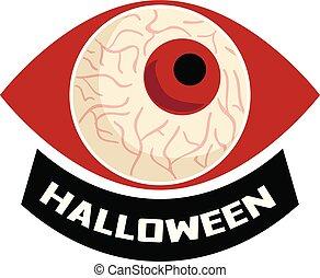 Halloween eyeball logo, cartoon style - Halloween eyeball...