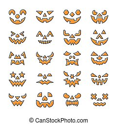 Halloween face set. Line icon with displaced fill