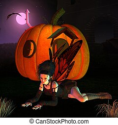 Halloween Fairy and Pumpkin House