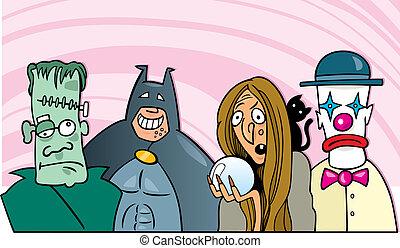 halloween fancy dress ball - cartoon illustration of people...