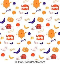 halloween, fantasma, murciélago, calabaza, seamless, patrón,...