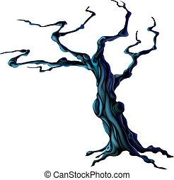 halloween, fantasmal, árbol
