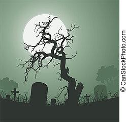 halloween, fantasmal, árbol muerto, en, cementerio