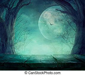 halloween, fantasmal, bosque