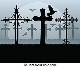 halloween, fantasmal, cementerio, cementerio, vendimia,...