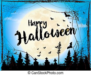 halloween, fantasmal, fondo., vector