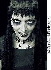 Halloween. Fashion portrait of night vampire