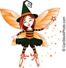 halloween, fata, carino