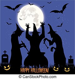 Halloween feast. Black three witches perform magic rite, boiled in a cauldron, illustration,