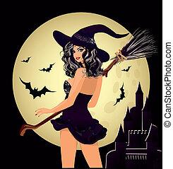 halloween., felice, strega, luna, sexy