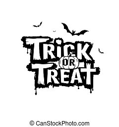 halloween, feliz, mensaje, o, negro, blanco, gusto, truco