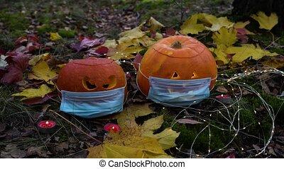 halloween, femme, jardin, décorer