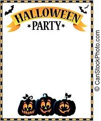 halloween festa, underteckna, tema, avbild, 3