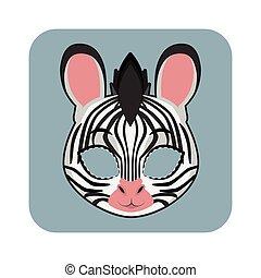 halloween, festivités, autre, masque, zebra