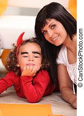 halloween, fille, elle, mère