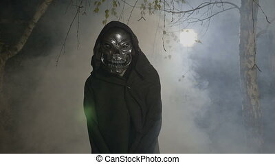 halloween, film, scène, met, een, volwassene, vervelend, een, skelton, masker, en, mantel, het bang maken, de, fototoestel, in, een, nevelig, bos